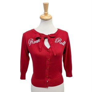 Collectif Charlene Rock & Roll Cardigan in Red